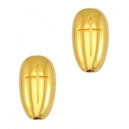 DQ metal oval beads with cross Gold (nickel free)