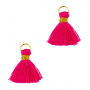 Tassels ibiza style 1cm Gold-ruby pink
