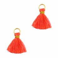 Tassels ibiza style 1cm Gold-vermillion coral red orange