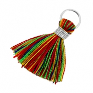 Tassels ibiza style 1.8cm Silver-multicolor red green