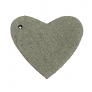 DQ leather charms heart Dark olive green