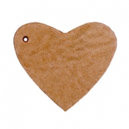 DQ leather charms heart Light cognac brown