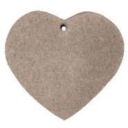 DQ leather charms heart Vintage brown