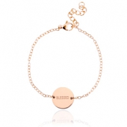 "Stainless steel bracelet with slogan ""blessed"" Rose gold"