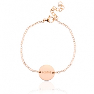 "Stainless steel bracelet with slogan ""positive"" Rose gold"