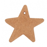DQ leather charms star Light cognac brown