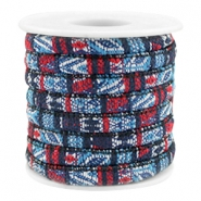 Trendy stichted cord 6x4mm Multicolor dark blue-red