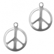 Stainless steel charm peace Silver