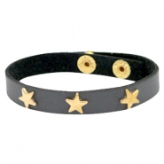 Bracelets gold star with studs Dark graphite grey
