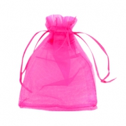 Jewellery organza bags 10x13cm Hot pink