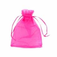Jewellery organza bags 9x12cm Hot pink