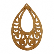Wooden pendant drop 70x46 mm Natural brown wood