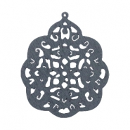 Wooden pendant baroque drop 58x48 mm Anthracite grey