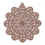 Wooden pendant mandala with ring 60x58 mm Dark taupe brown