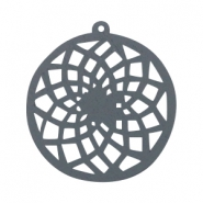 Wooden pendant dream catcher with ring 54x50 mm Anthracite grey