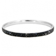 Bracelet stainless steel with strass stones Silver-black