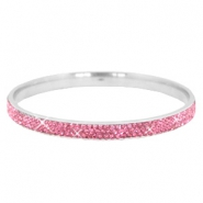 Bracelet stainless steel with strass stones Silver-rose