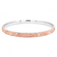 Bracelet stainless steel with strass stones Silver-peach