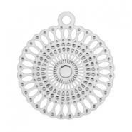 Bohemain charm round with ring 18 mm Silver