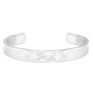 Open stainless steel bracelet with star pattern Silver