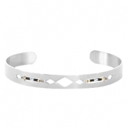 Open stainless steel bracelet with Miyuki beads Silver-Black