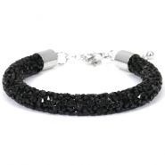 Crystal diamond bracelets 8mm Jet black