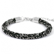Crystal diamond bracelets 7mm Deep emerald green-anthracite