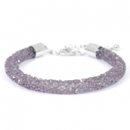 Crystal diamond bracelets 7mm Purple velvet
