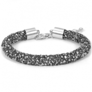 Crystal diamond bracelets 8mm Black diamond-anthracite