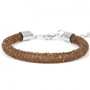 Crystal diamond bracelets 7mm Dark brown