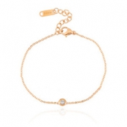 Stainless steel bracelets Sisa with rhinestone Rose gold