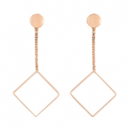 Flower shaped earrings studs & square Rose gold