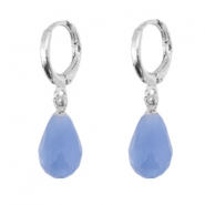 Trendy earrings with drop shaped faceted pendant Silver-sapphire blue