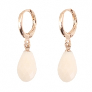Trendy earrings with drop shaped faceted pendant Rose gold-beige