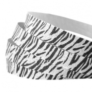 Animal print 10 mm crystal glitter tape Silver-black