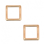 DQ metal square charms 12mm  Rosegold