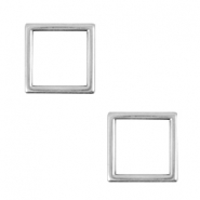 DQ metal square charms 12mm  Antique silver (nickel free)