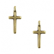DQ metal charms cross with loop Antique Bronze (Nickel free)