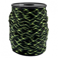 Round trendy 4 mm paracord Black-Yellow Green