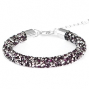 Crystal Diamond bracelets 8mm Dark amethyst-anthracite