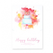 "Jewellery greeting card ""Happy Birthday"" White-rose red orange"