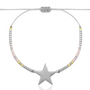 Stainless steel bracelets with Miyuki beads and star shaped connector Light greige-Silver rainbow