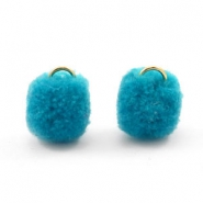 Golden pompom charm with eye 15mm Dark ocean blue