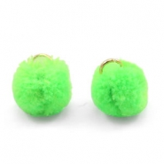 Golden pompom charm with eye 15mm Neon green