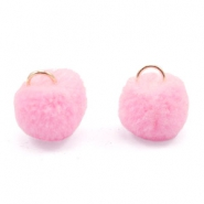Golden pompom charm with eye 15mm Pink