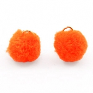 Golden pompom charm with eye 15mm Neon orange