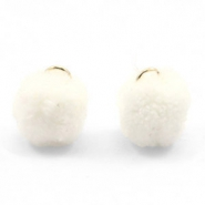Golden pompom charm with eye 15mm Off white
