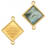DQ metal square settings with two loops for 12mm cabochon Gold (nickel free)