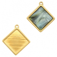 DQ metal square settings with one loop for 12mm cabochon Gold (nickel free)