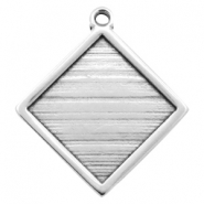 DQ metal square settings with one loop for 20mm cabochon Antique silver (nickel free)
